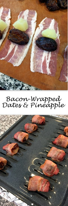 Bacon Wrapped Dates & Pineapple on Books n' Cooks - Bacon, dates and pineapple come together in a quick, sweet 3-ingredient appetizer that's hard to stop at only one.