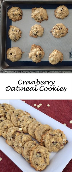 Cranberry Oatmeal Cookies - Bright cranberry and white chocolate flavors and a dough sweetened with coconut flakes make this oatmeal cookie stand out above many others.