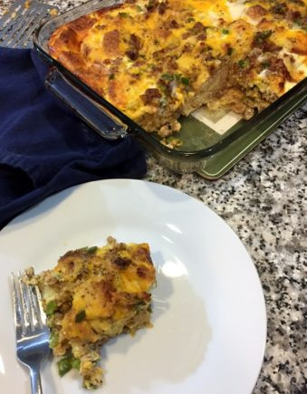 A hearty protein-rich breakfast, this Breakfast Casserole recipe can be assembled up to 12-hours ahead, making it great for entertaining and morning potlucks.