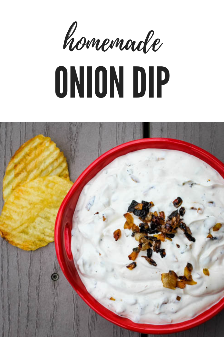 Caramelized onions infuse a traditional sour cream & mayonnaise combo to create a sweet homemade onion dip, a delicious accompaniment for fresh vegetables or salted potato chips.