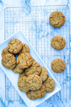 Molasses Cookies are a holiday classic. This copycat version of the cookie sold at a popular coffee shop is slightly crispy on the outside and super soft on the inside, making it one of our favorite versions of the classic cookie.