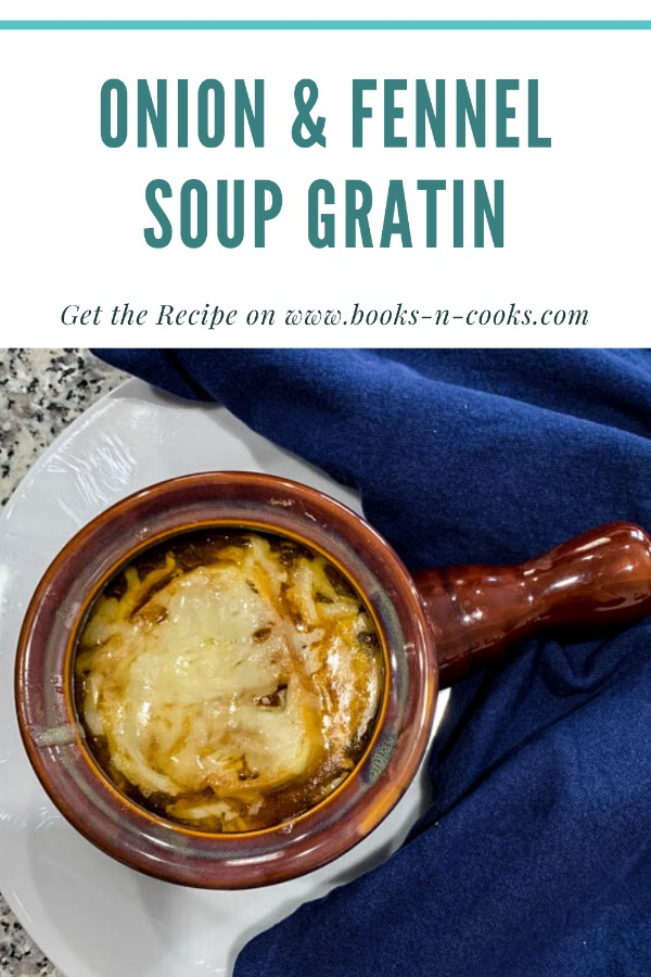 Barefoot Contessa's Onion and Fennel Soup Gratin is a deliciously rich soup - caramelized onions and fennel in a buttery beef broth, topped with savory cheese and a thick slice of bread. Enjoy it as an appetizer or a meal in and of itself.