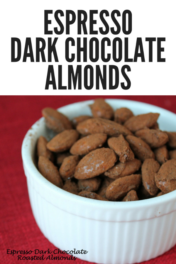 Sweet and spicy espresso dark chocolate almonds are an irresistible munchie to serve during fall and winter entertaining.