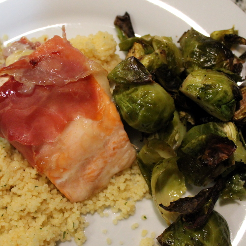 Prosciutto Wrapped Salmon and Brie and Roasted Brussels Sprouts