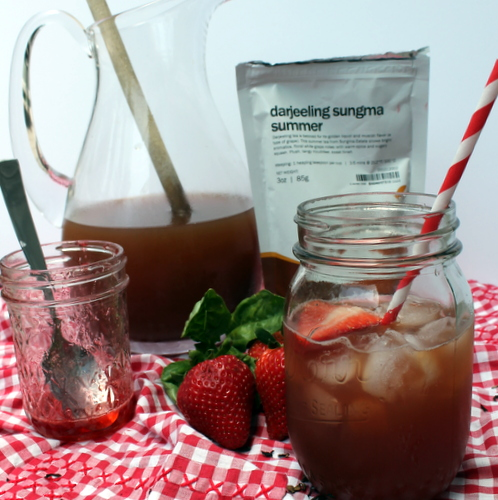 Strawberry Basil Darjeeling Iced Tea