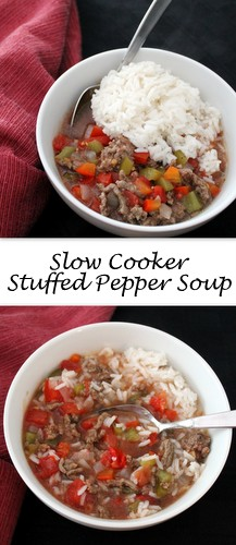 Slow Cooker Stuffed Pepper Soup by Books n Cooks