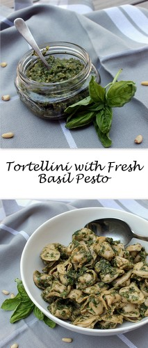 Tortellini with Homemade Basil Pesto on Books n Cooks