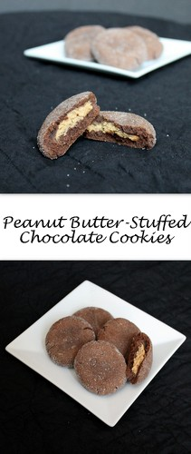 Peanut Butter-Stuffed Chocolate Cookies on Books n' Cooks