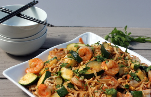 Spicy Shrimp and Zucchini Lo Mein