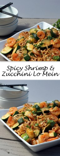Spicy Shrimp and Zucchini Lo Mein on Books n' Cooks