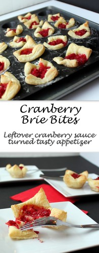 Leftover cranberry sauce or relish from Thanksgiving is turned into a quick sweet appetizer, Cranberry Brie Bites, for Thanksgiving weekend entertaining.