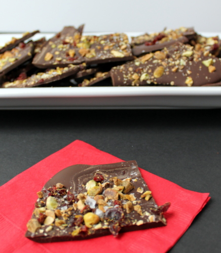 Cranberry-Pistachio Dark Chocolate Bark