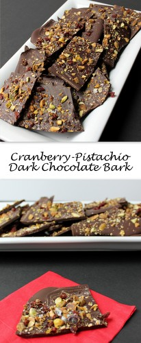 Cranberry-Pistachio Dark Chocolate Bark on Books n' Cooks