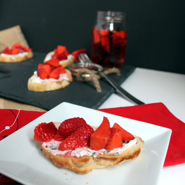 Herbed Goat Cheese Crostini w Vanilla Pickled Strawberries