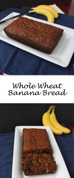 Whole Wheat Banana Bread on Books n' Cooks - Moist whole wheat banana bread - customized to taste with chocolate chips or walnuts - it a healthy(ish) breakfast or snack for busy days. Best part? It's kid-approved.