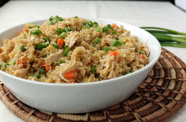 Chicken Fried Quinoa - Packed with shredded chicken and veggies, this protein-rich quinoa dish is a satisfying yet healthy lunch (or dinner!).