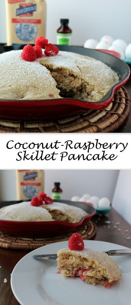 The perfect pancake to serve a crowd, the Coconut-Raspberry Skillet Pancake is a super fluffy pancake with subtle coconut flavors and bursts of sweetness from the fresh raspberries.