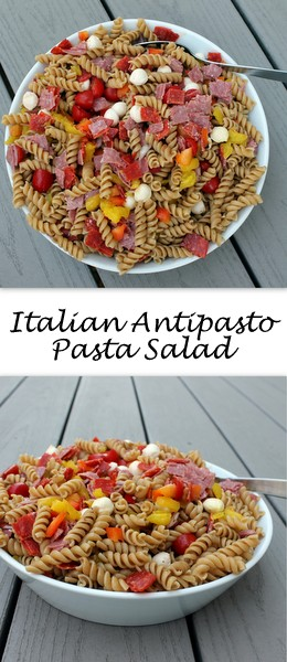 Salty, spicy Italian antipasto fixings are paired with fresh veggies and whole wheat pasta to create an Italian Antipasto Pasta Salad, a delicious side that's also hearty enough to enjoy for lunch..