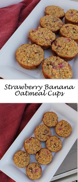 Single-serving baked strawberry banana oatmeal cups are a great grab-and-go breakfast for busy weekday mornings. Pair with a yogurt and a cup of coffee and you're good to go!
