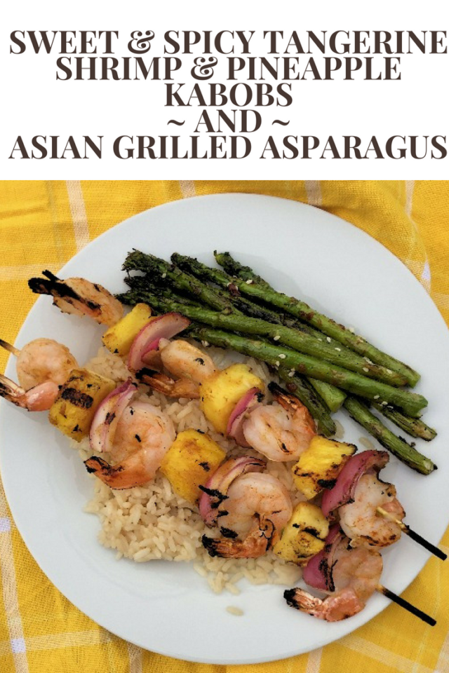 Shrimp and pineapple kabobs are brushed with a sweet and spicy BBQ sauce for a quick and flavorful weeknight meal, especially when served with Asian Grilled Asparagus