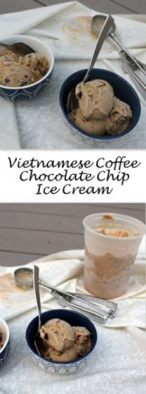 Vietnamese Coffee Chocolate Chip Ice Cream - This rich coffee ice cream is made with sweetened condensed milk just like Vietnamese coffee - a lovely snack on a hot day, or a refreshing dessert that's a nod to a after dinner coffee.
