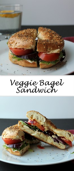 Veggie Bagel Sandwich - Crisp garden vegetables, protein-packed hummus and cream cheese, and a savory bagel come together in a make-at-home version of my favorite bagel sandwich from a popular bagel chain.