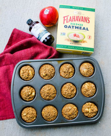 Apple Oatmeal Muffins - Sweet apple oatmeal muffins make a delicious grab & go breakfast or snack for busy weekdays.
