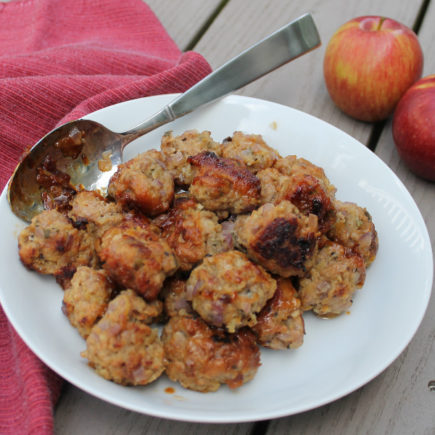 Italian sausage and shredded apple meatballs are delightful, sweet little appetizer bites, especially wonderful for fall and winter entertaining.