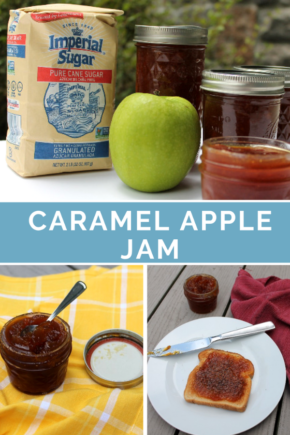 Tart Granny Smith apples and sweet homemade caramel come together in an amazing fall jam. Caramel Apple Jam is a delicious topping for morning toast, PB&J star, compliment to appetizer cheese plates, and a surprising mix-in for fall cocktails. @imperialsugar #appleweek