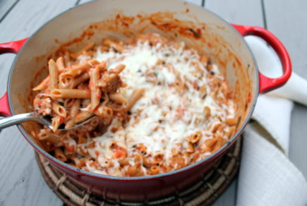 Sweet Sausage & Penne in a Vodka Cream Sauce - Sweet Italian sausage is tossed with penne pasta and tomato vodka cream sauce in a lovely comforting dish that we enjoy for both quiet evenings in as well as for entertaining.
