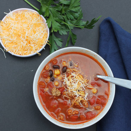 Full of good-for-you veggies, beans and lean ground turkey, this Taco Soup is both healthy and full of flavor!