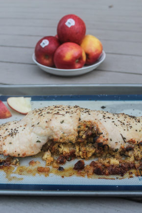 Tender turkey breast is stuffed with a sweet apple, cornbread and sausage stuffing for a satisfying, filling fall Sunday night dinner.