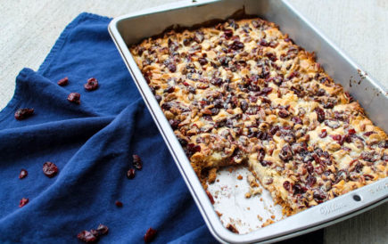 A sweet bar cookie gets a fall makeover. Fall Magic Bars are a twist on the 7-ingredient American classic bar cookie, this time with white chocolate chips and dried cranberries. Delicious on their own or warmed with a scoop of ice cream on top.