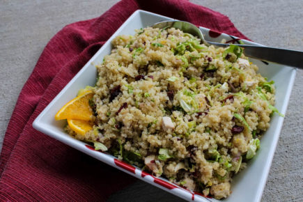 Quinoa with Turkey, Brussels Sprouts & Cranberries - Quinoa, leftover turkey (or chicken), fall Brussels sprouts, and dried cranberries are tossed in a fresh orange vinaigrette creating a dish to enjoy for lunch, a light dinner, or even a side dish.