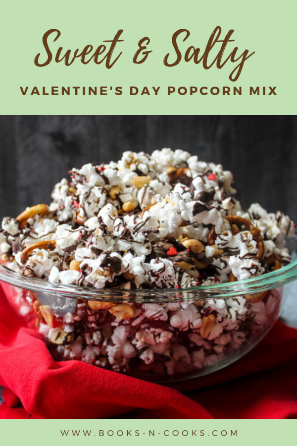Sweet & Salty Valentine's Popcorn Mix - Salty popcorn, peanuts, and pretzels are drizzled with dark chocolate and topped with sprinkles for a Valentine's Day snack both adults and kids will love!