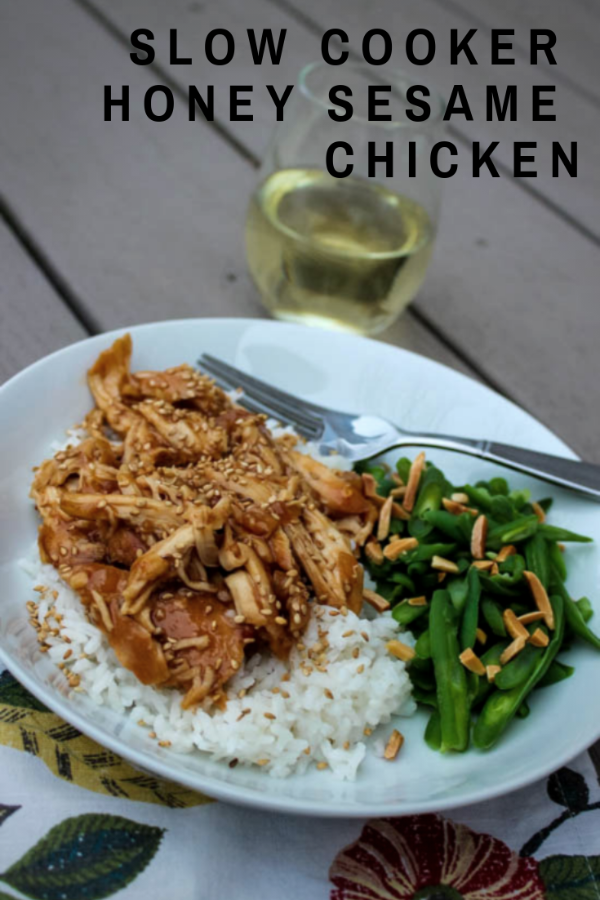 Sweet slow cooker Honey Sesame Chicken can be prepped in just 10 minutes. Serve with rice and a veggie for a complete, quick meal. #slowcooker #glutenfree