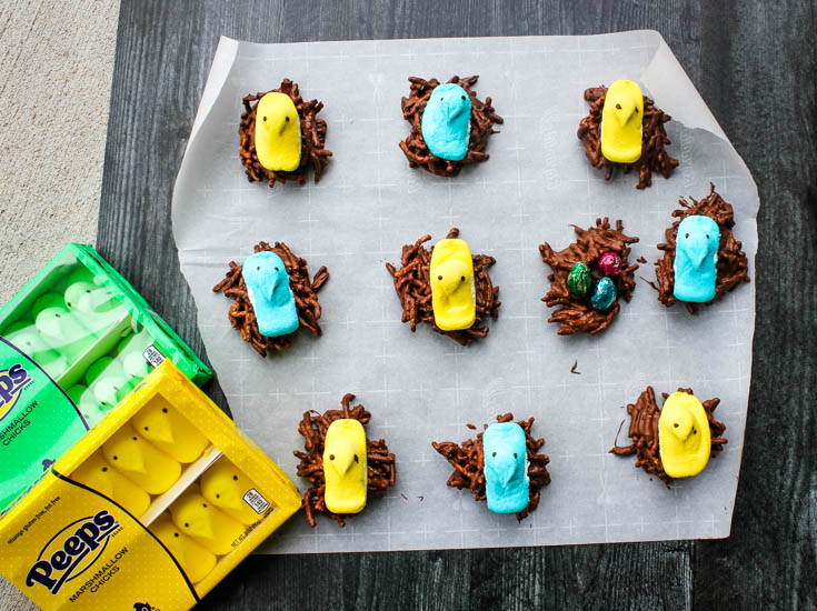 "Chick's Nests: Free-form chocolate-butterscotch ""nests"" (aka Haystacks) topped with a bright and colorful PEEPS Chick are a fun, no-bake Easter treat to make or share with the special kiddos in your life."