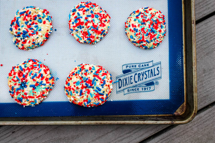 These Patriotic Funfetti Cookies are delicious on their own, but even better when they're mixed into Red, White, and Blue Funfetti Ice Cream.