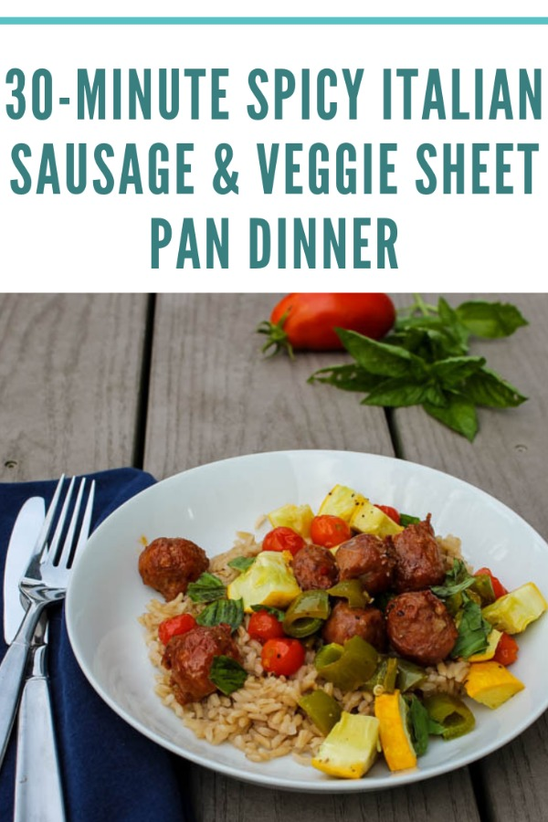 This 30-Minute Spicy Italian Sausage & Veggie Sheet Pan Dinner is quick weeknight dinner with very few dishes and lots of fresh veggies, making it an awesome option for busy weeknights.