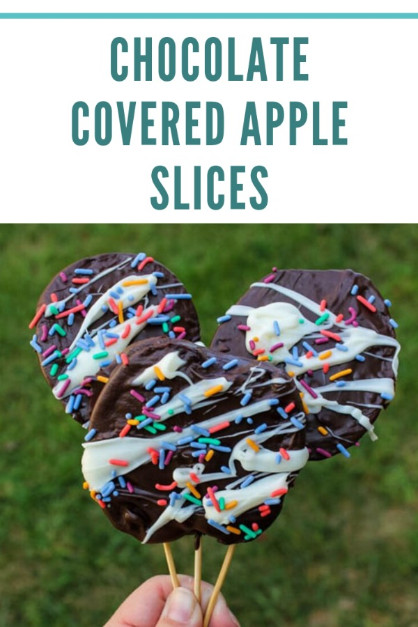 Sweet apples get coated in rich dark chocolate for an easy sweet treat.