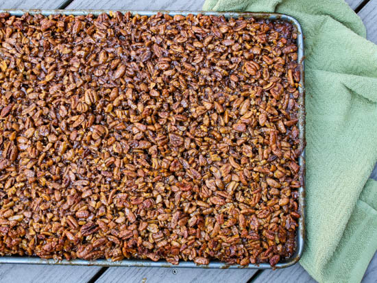 Shortbread topped with loads of sweet pecans have all the best flavors of pecan pie but served as a finger food perfect for fall and winter parties. Bonus: These Pecan Pie Bars make a ton and freeze beautifully, making it a great make ahead dessert for fall entertaining.