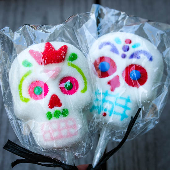 Show Stopping Sugar Skulls, to be included on a Halloween Dessert Board - Desserts boards, like cheese boards, are all the rage right now, so why not a Halloween Dessert Board? Filled with homemade, semi-homemade, and store-bought sweets, this Halloween Dessert Board has something for everyone.