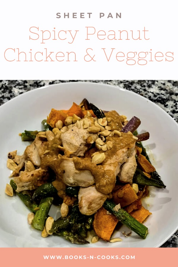 Sheet Pan Spicy Peanut Chicken & Veggies: Chicken, sweet potatoes and your choice of veggies are roasted on a sheet pan and then topped with a spicy peanut sauce and crunchy peanuts for a balanced, flavorful meal.