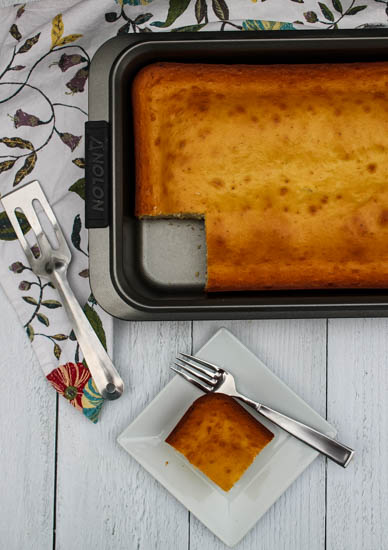 My family's Sponge Cake is just barely sweet, light with little pockets of air throughout. Enjoy it on it's own for snack, afternoon tea, or dessert, or sweeten it with fresh fruit and whipped cream.