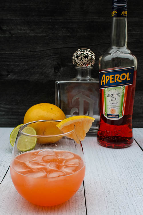 This Aperol Grapefruit Margarita combines tart grapefruit, bitter orange Aperol and tequila in a cocktail delicious for brunch or Mexican night.